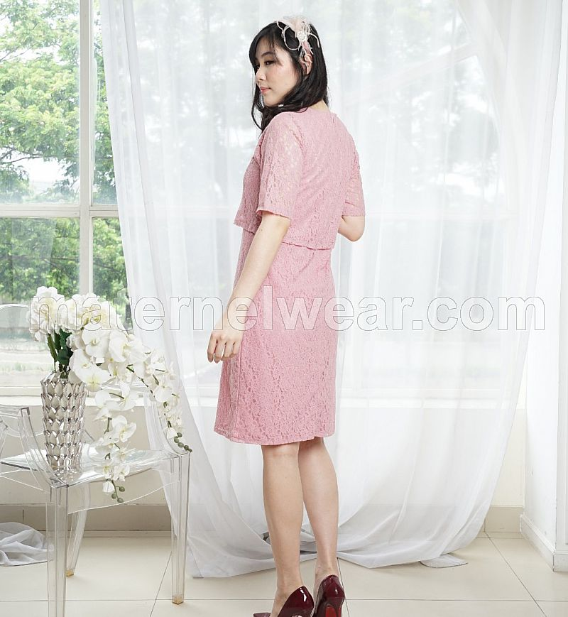 Sophia lace nursing dress dusty pink
